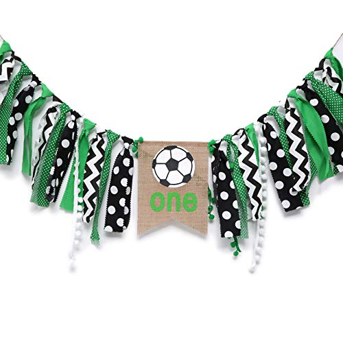 WAOUH Soccer Banner for 1st Birthday - Highchair Banner for First Birthday Theme Decoration, Cake Smash Photo Prop, Fabric Rag Garland Banner