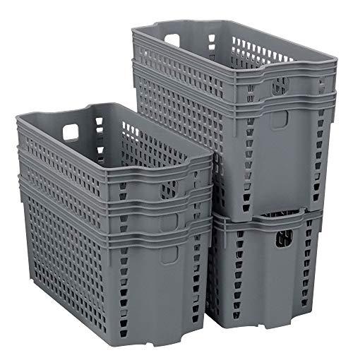 Dehouse Cestino impilabile piccolo, set di 6 cestini impilabili in plastica, grigio
