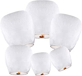 Chinese Lanterns (10 Pack-White) ECO Friendly 100% Biodegradable - Beautiful Lantern for White for Weddings, Birthdays, Memorials and Much More by Smeiker