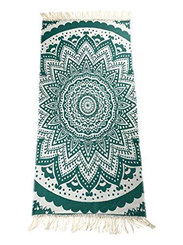 SOLTAKO Kelim - Alfombra de pasillo con flecos y estampado retro, bohemio, étnico, estilo marroquí, lavable, modelo bohemio jade/crudo, 200 x 100 cm