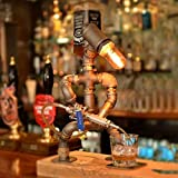 Steampunk Industrial Lamp Iron Pipe Industrial Retro Style Coffee Bar Desk Robot Table Lamp Wine Dispenser Bar Supplies Home Decor