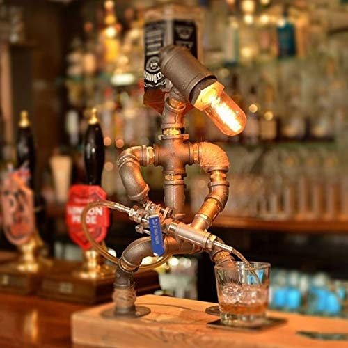 JiangM Steampunk Industrielampe Eisenpfeife Industrielle Retro-Stil Kaffee Bar Schreibtisch Roboter Tischlampe Wein Spender Bar Supplies Home Decor