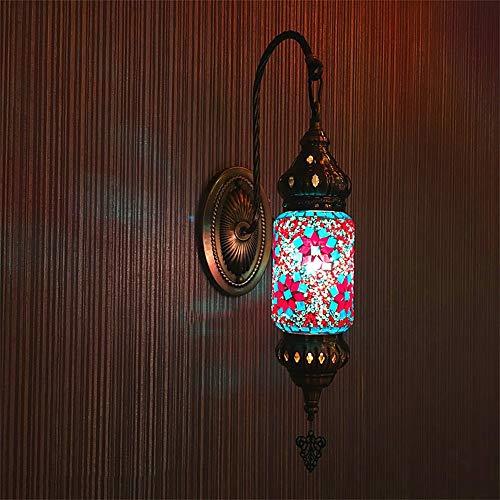 Lámpara de pared, mosaico turco de cuello de cuello de ganso de la pared de la pared de la linterna bohemia Lámparas de pared marroquí lámpara de cama de vidrio hecho a mano para la sala de estar de l