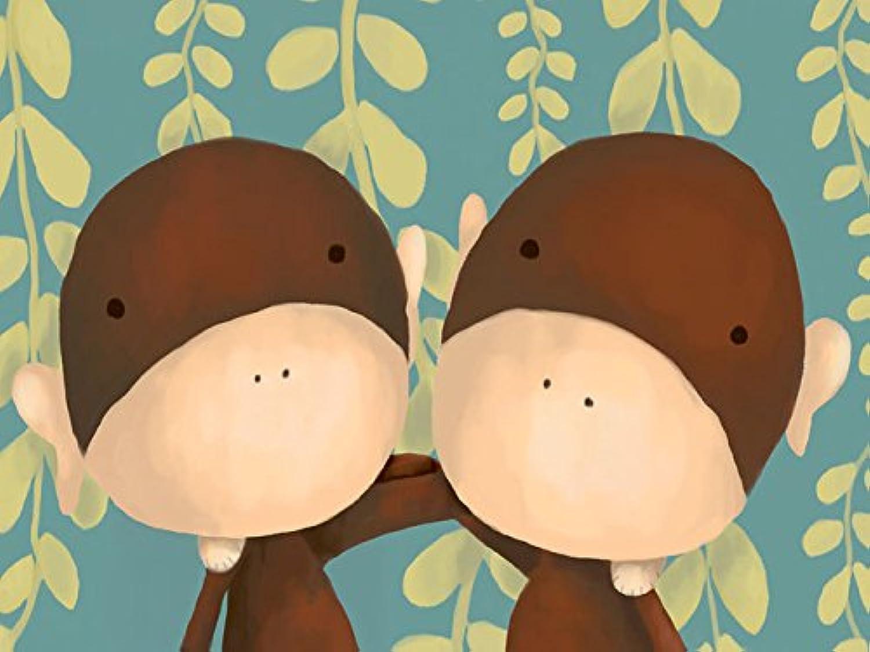 Oopsy Daisy Two Of A Kind Monkeys Stretched Canvas Wall Art by Meghann O'hara, 24 by 18Inch, Aqua