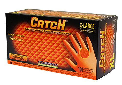 Adenna - CAT458 Catch 8 mil Nitrile Powder Free Gloves (Orange, X-Large) Box of 100