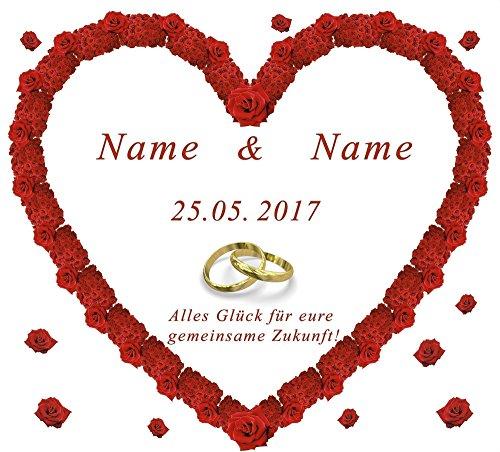 Personalisiertes Hochzeitsherz zum Ausschneiden für das Hochzeitsspiel oder zur Hochzeitsdekoration – mit Namen, Datum und Glückwunschtext in der Sprache Ihrer Wahl