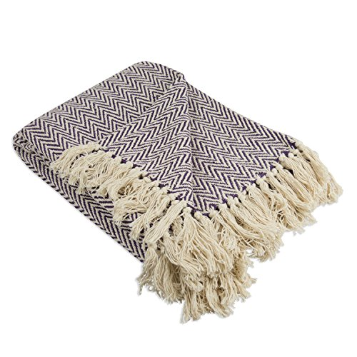 DII Rustic Farmhouse Cotton Chevron Blanket Throw with Fringe For Chair, Couch, Picnic, Camping, Beach, & Everyday Use , 50 x 60 - Mini Chevron Eggplant