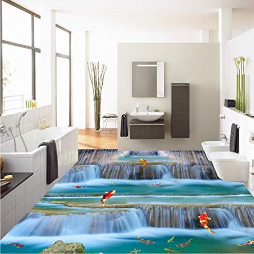 Zybnb Karpfen springen drangon Tür Landschaft 3D Bodenbelag Malerei selbstklebende rutschfeste Abnutzung Boden Tapete Wandbild
