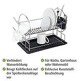 WENKO Geschirrabtropfer Premium Duo, Geschirr Abtropfständer für die Küche, Abtropfgestell mit Besteckkasten und Tellerständer, 52 x 36 x 24 cm, Silber/Schwarz - 3