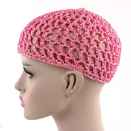 S-TROUBLE Womens Mesh Hair Net Crochet Cap Solid Color Snood Sleeping Night Cover Turban