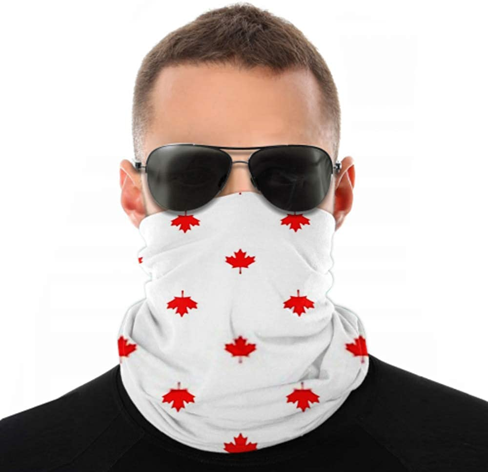 Headbands For Men Women Neck Gaiter, Face Mask, Headband, Scarf Abstract Canadian Seamless Pattern Maple Leaf Turban Multi Scarf Double Sided Print Womens Headbands Headwraps For Sport Outdoor