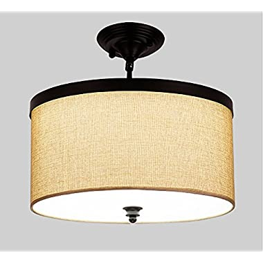 Siljoy Antique Black Metal Semi Flush Mount Ceiling light with Linen Lampshade, Painted Finish