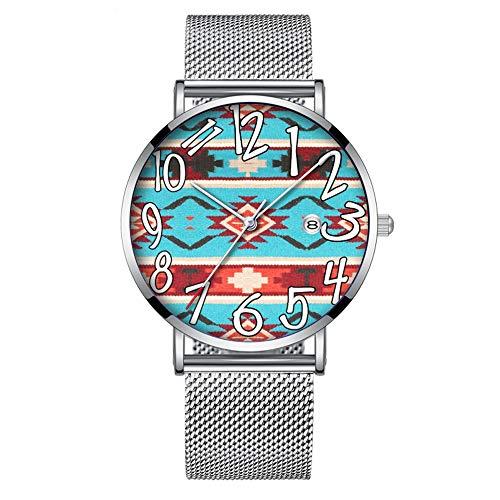 Minimalistische Fashion Quarz-Armbanduhr Elite Ultra Dünn Wasserdicht Sport Uhr mit Datum mit Netzband 352.Tribal, Western, Indianer, Muster Print 8