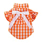 Wakeu Dog Clothes for Small Dogs Girl Chihuahua Yorkies Summer Fall Winter - Puppy Cat Plaid Shirt Vest Apparel Costume - Pet Clothing for Schnauzer Female