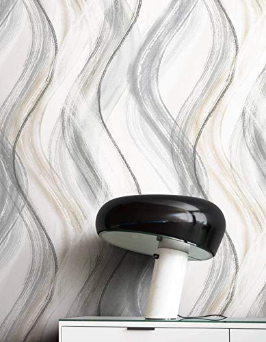 NEWROOM Tapete Grau Vliestapete Wellen - Mustertapete Grafisch Beige Weiß Linien Muster Grafiktapete Modern Geschwungene Linien inkl. Tapezier-Ratgeber