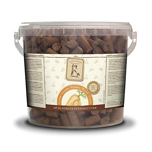 Mühldorfer Zanahoria, 3 kg, golosinas para Caballos, alimento de recompensa con Zanahorias secas, muele, lubrica y no se Pega.