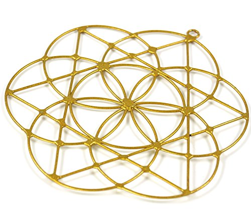 Guru-Shop Sonnenfänger, Suncatcher -Blume des Lebens, Gold, Dekoobjekte