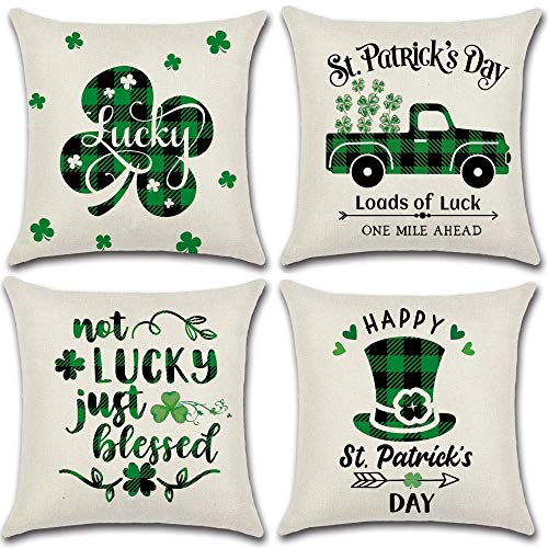 Glaring St Patricks Day Decorations Pillow Covers 18x18 Set of 4 for Irish Shamrock Home Decor Throw Pillows Cover