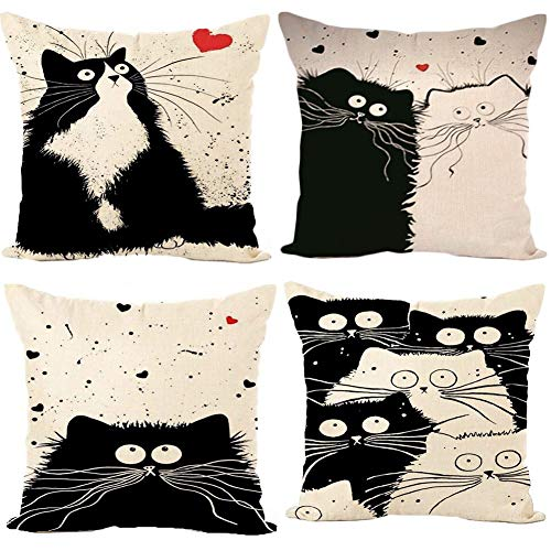 Gspirit 4 Pack Gato Algodón Lino Decorativo Throw Pillow Case Funda de Almohada para Cojín 45x45 cm