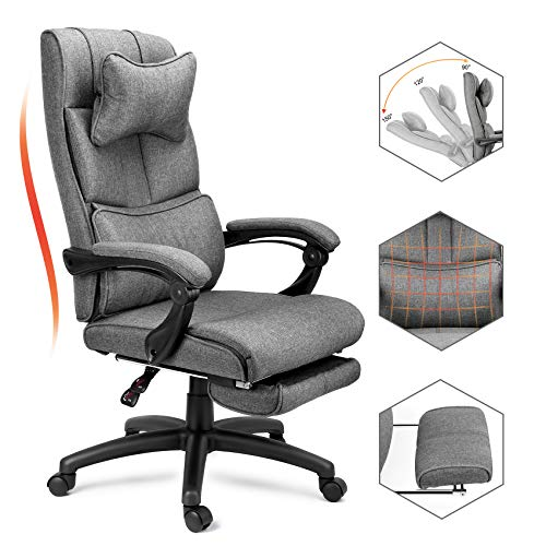 Reclining Office Chair with Headrest and Footrest, Ergonomic High Back Linen Office Chair, Big &Tall Executive Desk Swivel Chair with Adjustable Tilt Angle and Lumbar Support (Dark Gray)