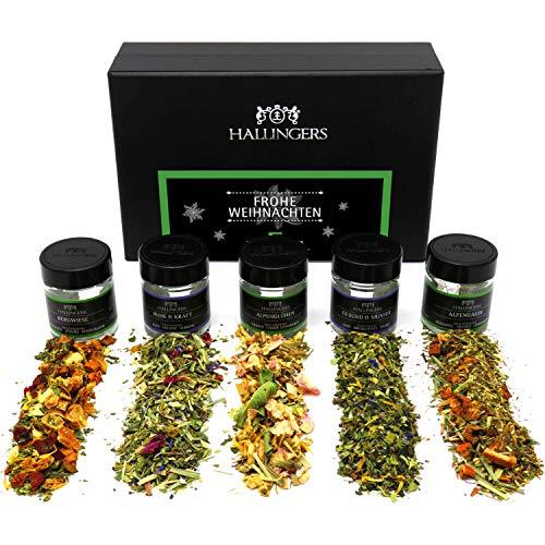 Hallingers 5er Weihnachts-Tee-Geschenk-Set (40g) - Frohe Weihnachten GREEN (MiniDeluxe-Box) - zu Weihnachten