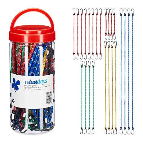 Relaxdays 10030878 Spanngummi 24er Set, Gepäckspanner für Auto & Fahrrad, 5 Größen, Universal Gummispanner mit Haken, Mehrfarbig