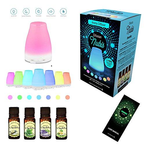 Difusian NUBIS - Un diffuseur puissant d´huiles essentielles aromathérapie à ultrasons avec LEDs qui changent de couleurs + 4 Bouteilles d'Huiles Essentielles de 10ml GRATUITES incluses (arbre à thé, menthe poivrée, lavande et eucalyptus) - pour la maison, Yoga, bureau, spa, chambre, chambre de bébé, etc.