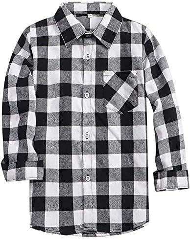 Little Boys Cotton Long Sleeves Gingham Plaid Flannel Shirt Tops White Black Age 5T 6T 5 6 Years product image