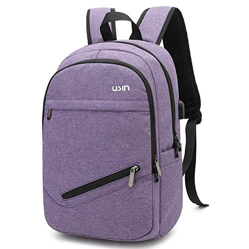 Today 70% off Travel Laptop Backpacks Fits 14/15 inch Notebook Water Resistant College Computer Backpacks with USB Charging Port for Women Purple