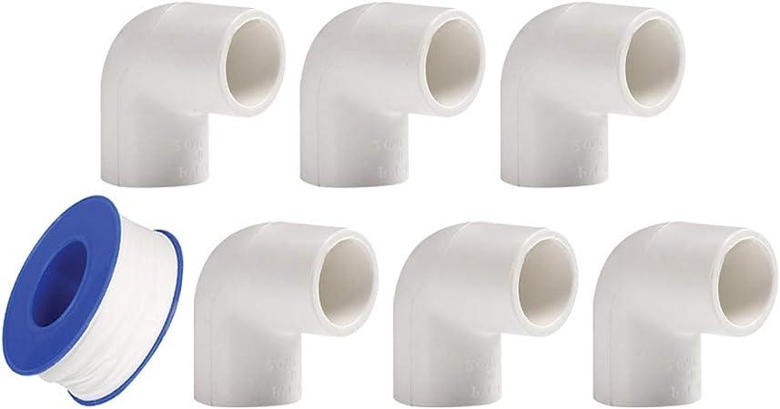 Cinta de plomer/ía Conectores de Codo de 90 Grados para Tuber/ía de Agua Conector de Tuber/ía de YOFASEN Kit de Accesorios de Tubo PVC de Plomer/ía de 6 Piezas 32mm
