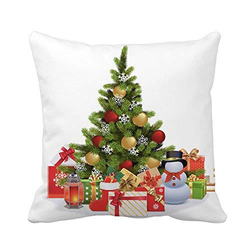 Funda de Almohada de Tiro Muñeco de Nieve Árbol de Abeto de Navidad Adorno Caja de Lazo Candelabro Funda de Almohada católica Funda de Almohada Cuadrada Decorativa para el hogar Funda de cojín
