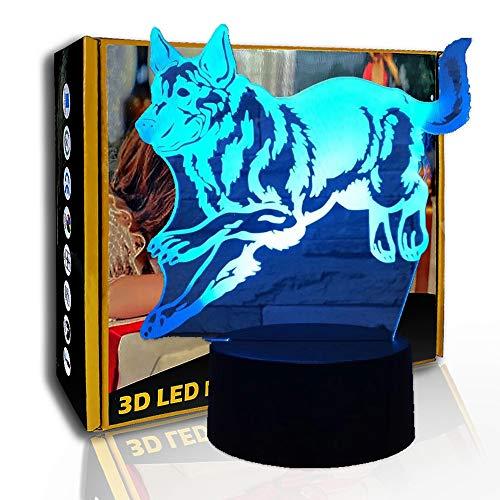 JINYI 3D Luz nocturna Running Rush Wolf, Lámpara LED para niños con ilusión óptica, F- Base de audio Bluetooth (5 colores), Lámpara de ambiente, Luces de colores