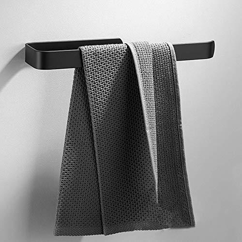 JSMY Toallero sin taladrar,Toallero de baño,Toallero de Pared,Autoadhesivo,35 cm,Toallero Negro,Aluminio,Montaje en Armario para baño y Cocina