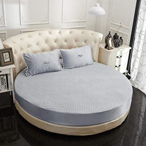XGguo Ventilerande madrasskydd bomull – madrasser tvättad rund säng quiltad förtjockning blå grå-enkelskikt_2,1 m