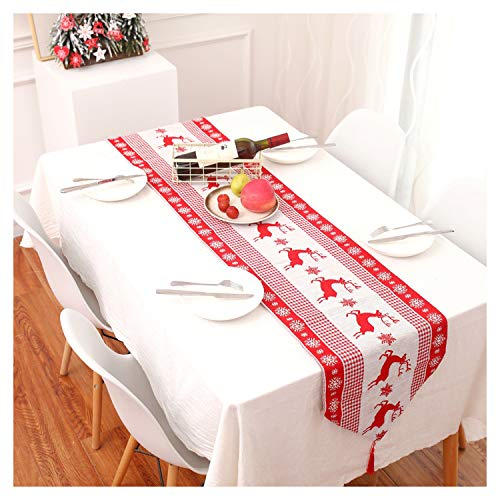 """Leesgel Table Runner, Christmas Table Runner, Table Decor Table Runners 72 Inches Long White Red Coffee Dining Table Runner Runners for Dining Room Christmas Table Kitchen Decorations (72""""x 14')"""
