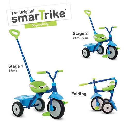 smarTrike 131-0900 Faltbares und stabiles Kinderdreirad Folding Fun, Blau/grün