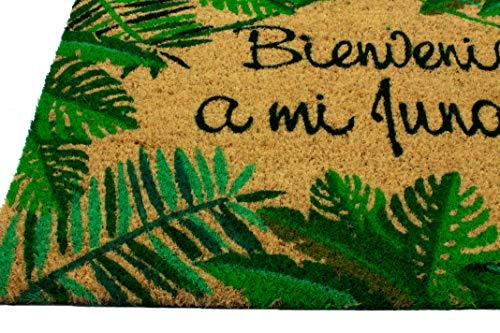 LucaHome - Felpudo Coco Natural 40x70 Antideslizante, Felpudo de Coco Bienvenido a mi Jungla, Felpudo Absorbente Entrada casa, Ideal para Exterior o Interior