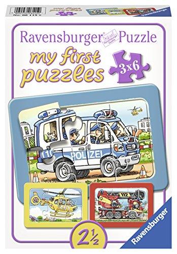 Ravensburger 06115 - Feuerwehr, Polizei, Rettungshubschrauber, my first puzzles 3x6 Rahmenpuzzle