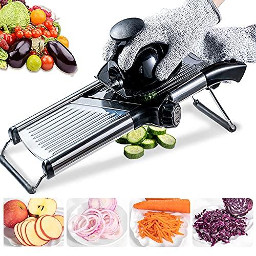 Mandoline Slicer for Kitchen -VEKAYA Stainless Steel Vegetable Slicer for Potato, tomato and Onion, Carrot Julienne and Chopper for Vegetables with...