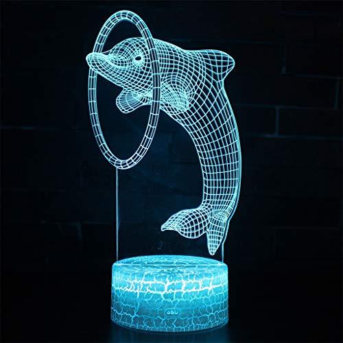 Lampe à économie d'énergie 3D Night Light/LED, 7 couleurs, Lampe de chevet pour enfant, Sculpture, Chambre, Bar (21.5cm × 15.0cm × 5.3cm)