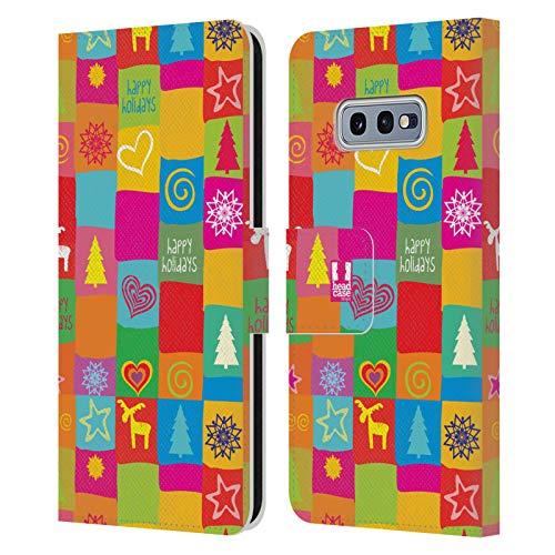 Head Case Designs Edredón Navidad del Hippie Carcasa de Cuero Tipo Libro Compatible con Samsung Galaxy S10e