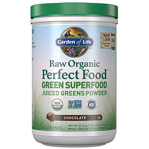 Garden of Life Raw Organic Perfect Food Green Superfood Juiced Greens Powder - Chocolate, 60 Servings, Non-GMO, Gluten Free, Vegan Whole Food Dietary Supplement, Plus Probiotics, Enzymes