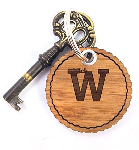 Mr. & Mrs. Panda Schlüsselanhänger Nachname Wick Rundwelle - 100% handgefertigt aus Bambus Holz - Anhänger, Geschenk, Nachname, Name, Initialien, Graviert, Gravur, Schlüsselbund, handmade, exklusiv