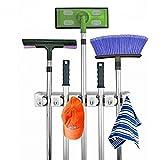 FireAngels Mop and Broom Holder, 5 posiciones con 6 ganchos de almacenamiento en el garaje Con capacidad para hasta 11 herramientas, soluciones de almacenamiento para los porta escobas