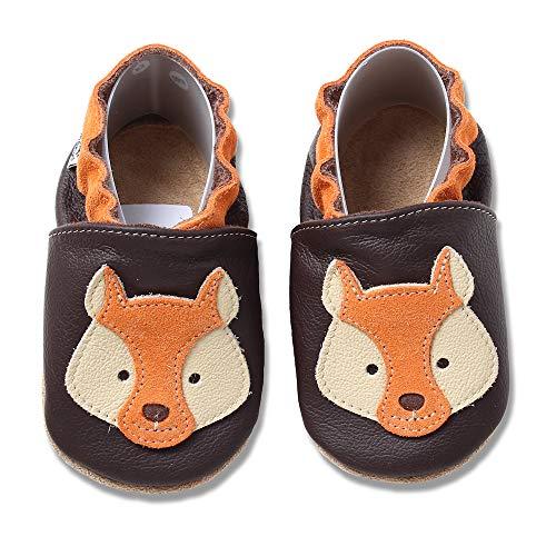 HOBEA-Germany Krabbelschuhe Designs mit Tieren (20/21 EU, Fuchs orange-braun)