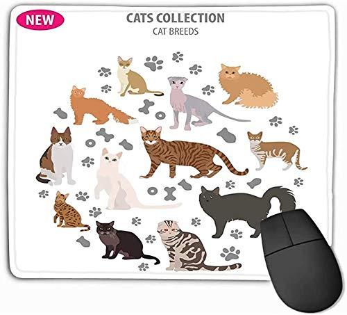 N/A muismat kat rassen icoon set platte stijl geïsoleerd wit maken eigen Inf infografische huisdieren rechthoek rubber muismat 25 * 30Cm