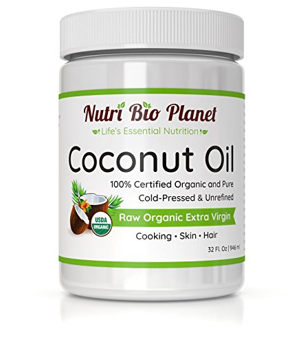 NutriBioPlanet Raw Organic Extra Virgin Coconut Oil, Unrefined, 32 Ounce