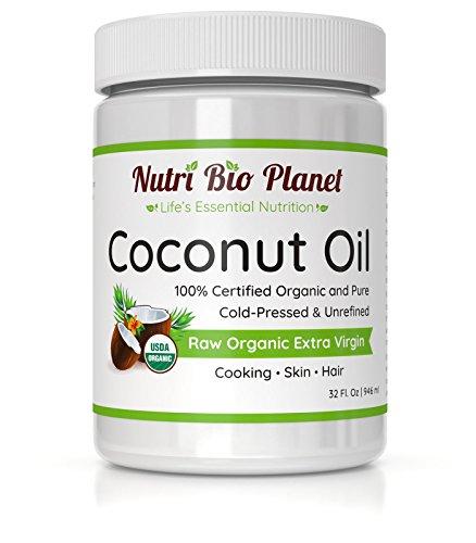 NutriBioPlanet Raw Organic Extra Virgin Coconut Oil, Unrefined, 32 Ounce