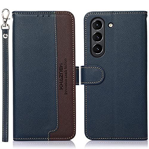 16Jessie Funda para Samsung Galaxy S21, funda de piel sintética con billetera, funda de silicona suave a prueba de golpes, funda de piel sintética plegable [protección RFID]