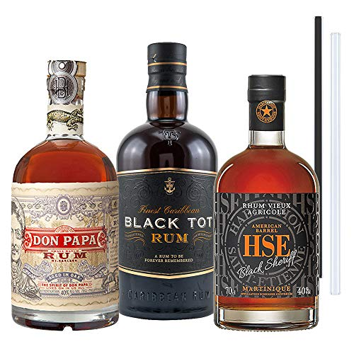 Don Papa Rum, Black Tot Rum, Black Sheriff Rum - 3er Rum Set   Rum aus Philipines, Mauritius, Karibik, inkl. 2 Glasdrinkhalme